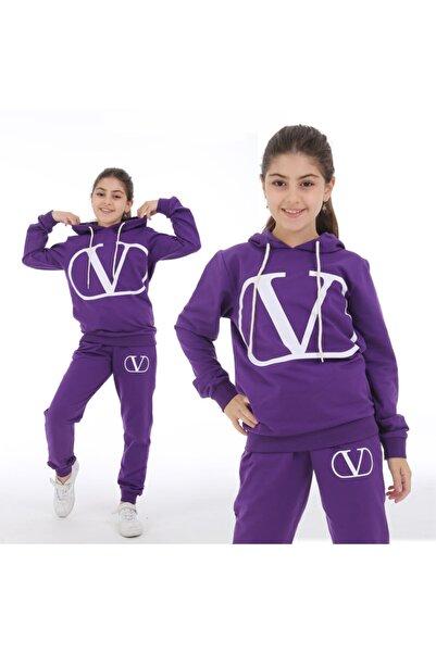 Cosmo#5 Kız Çocuk Kapüşonlu Eşofman Takımı