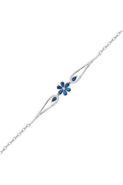 Gümüş Pazarım 6 Yapraklı Safir Renkli Çiçek Gümüş Bileklik