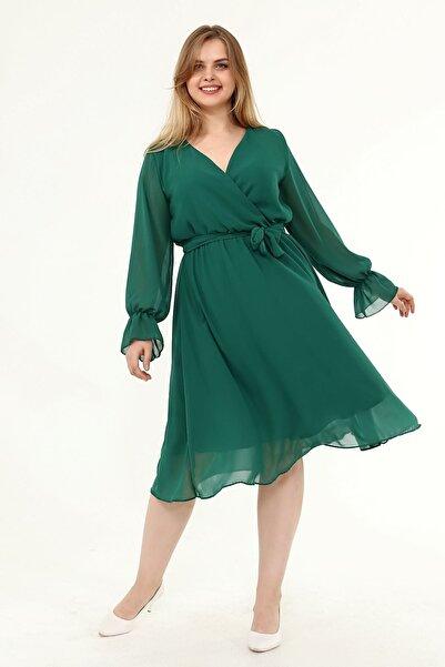 Moday Uzun Kol Büyük Beden Şifon Elbise 30y-1823