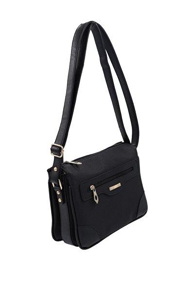 SheBella Bags & Shoes Castelsardo Beş Gözlü Çapraz Askılı Siyah Renk Kadın Postacı Çantası