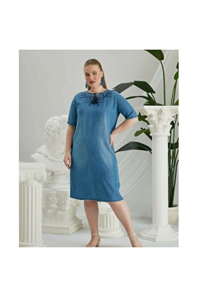 RMG Kadın Büyük Beden Tencel Kot Elbise
