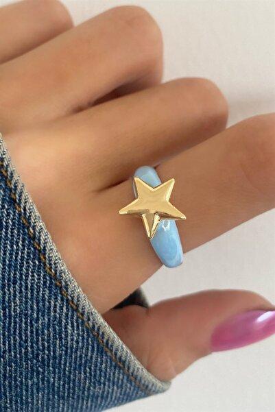 TAKIŞTIR Kadın Açık Mavi Renk Yıldız Figürlü Ayarlanabilir Yüzük