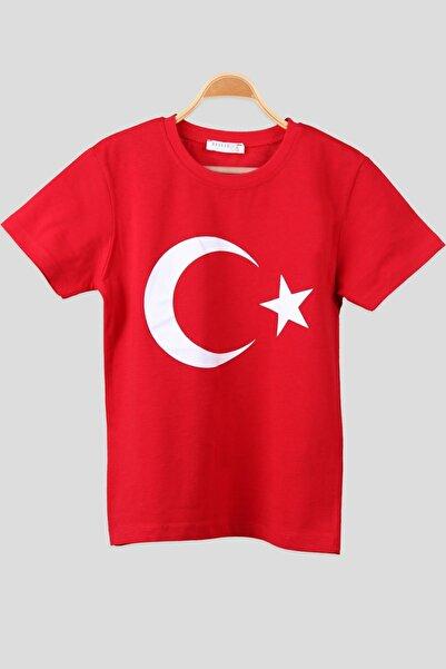Royaleks Ay Yıldız Bayrak Baskılı Yuvarlak Yaka Penye Kadın Kırmızı T-shirt