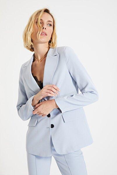 TRENDYOLMİLLA Açık Mavi Düğmeli Blazer Ceket TWOAW22CE0168