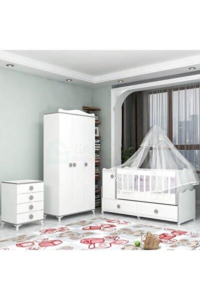 Garaj Home Pırlanta Yıldız 3 Kapaklı Bebek Odası Takımı Gri- Yatak Ve Uyku Seti Kombinli - Pembe Uykusetli