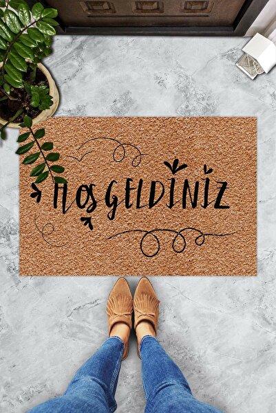 Evsebu Hoş Geldiniz Neşeli Font Dekoratif Kapı Önü Paspası