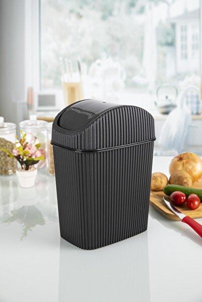 Doreline Liam Tezgah Üstü Çöp Kovası, Mutfak, Banyo, Siyah Masaüstü Mini Çöp Kutusu