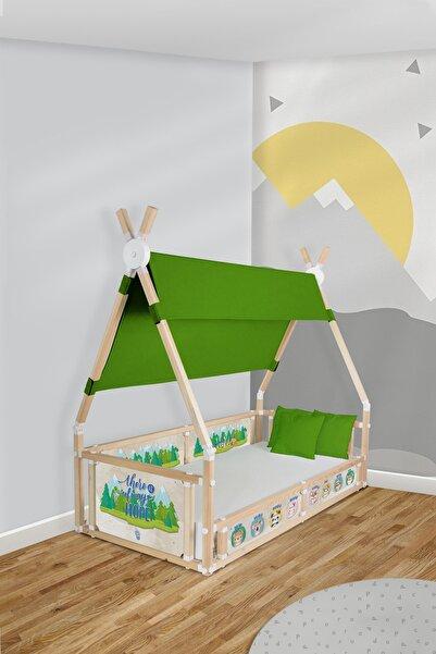 Popcorn Kids Little Indian Yeşil Çadırlı Campy Montessorı Yatak