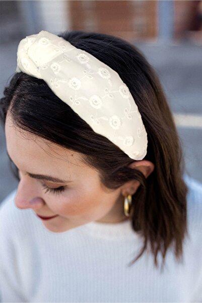 ESLE AKSESUAR Kadın Beyaz Renk Fistolu Model Kalın Taç Saç Bandı