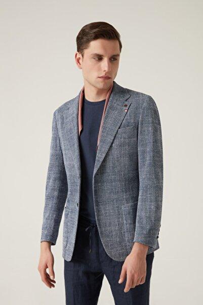 Damat Damat Regular Fit Lacivert Desenli Kumaş Ceket