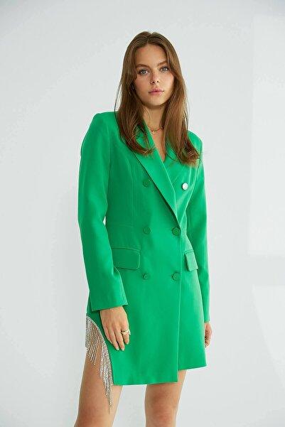 Robin Taş Püsküllü Ceket Elbise Yeşil