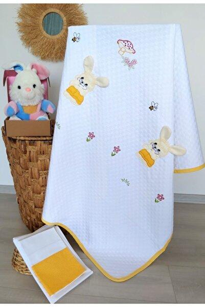 mellowbabystore %100 Pamuk Sarı Tavşan Desenli Ince Biyeli Bebek Pike Takımı
