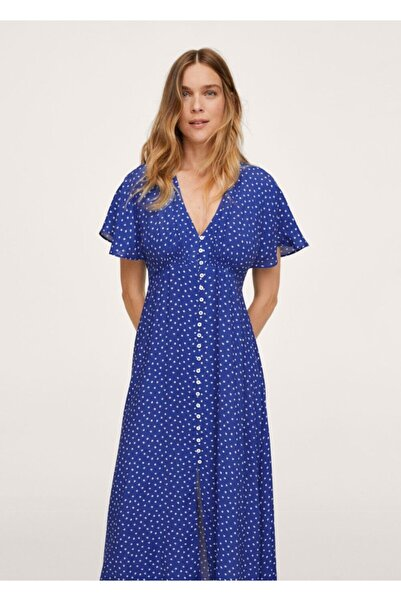 MANGO Woman Kadın Mavi Puantiyeli Midi Elbise