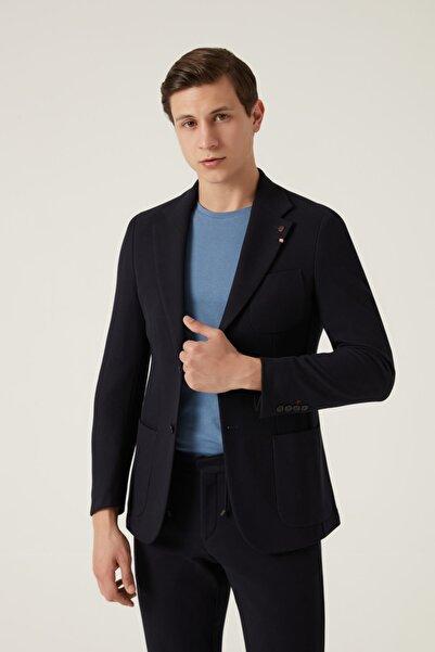 Damat Regular Fit Lacivert Örme Kumaş Ceket
