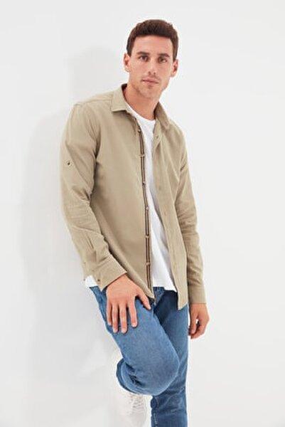 Haki Erkek Düğmeli Yaka Apoletli Slim Fit Gömlek TMNSS20GO0189