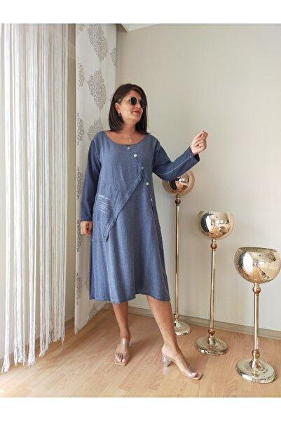 Apex Kadın Lacivert Büyük Beden Elbise