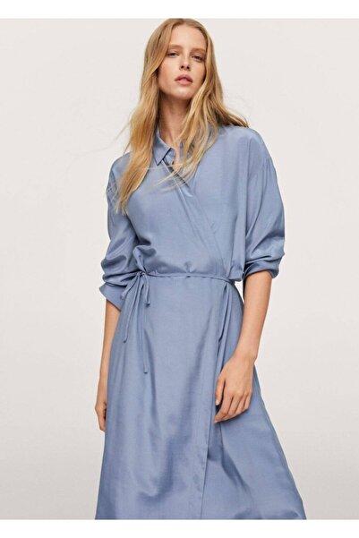 MANGO Woman Kadın Mavi Anvelop Saten Elbise