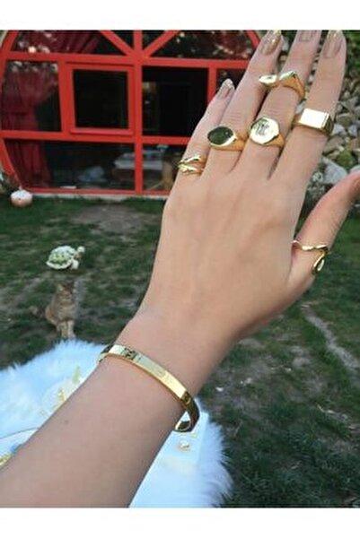 Cartier Bileklik Kalın Model Çelik Üzeri Altın Kaplama (KARARMAZ-PASLANMAZ)