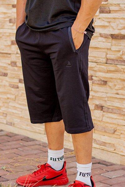 Azıcık Akıllı Erkek Siyah Rahat Kumaş Üç Cepli Fermuarlı Ipli Uzun Bermuda Şort 21ebrmusr1