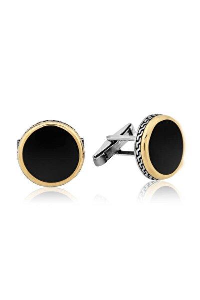 Gumush Gümüş Yuvarlak Siyah Klasik Kol Düğmesi