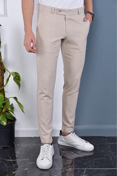Bürke Erkek Krem Renk Italyan Kesim Slimfit Kumaş Pantolon