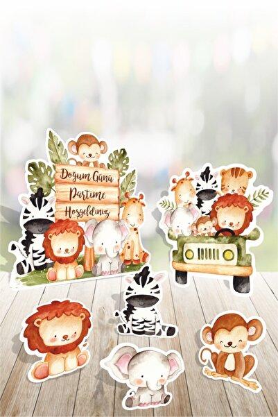 neseligünlerim Safari Hayvanlar Ayaklı Pano Seti Pastel Safari ( Masa Üstü ) ** Kalın Kağıt