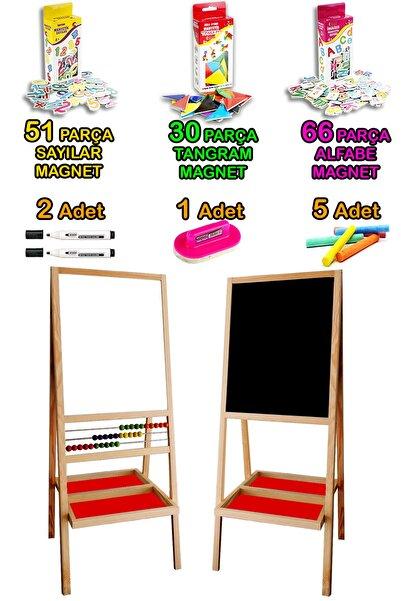 PinkToys Üç Sıra Ahşap Boncuklu Manyetik Özellikli Eğitici Çocuk Yazı Tahtası