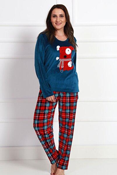 ILISANA Kadın Elastan Kadife Pijama Takımı
