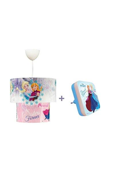 HOMİNG Disney Lisanslı Frozen Elsa Karlar Ülkesi 3d Sihirli Sarkıt Ve Mini Gece Lambası