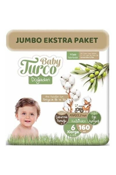 Baby Turco Doğadan Bebek Bezi 6 Beden - Numara Xlarge 160 Adet Jumbo Ekstra Paket 16+ Kg