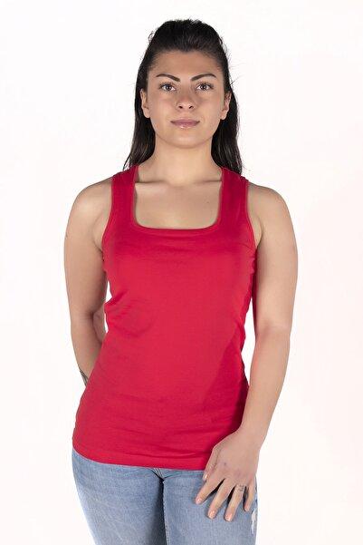 moda felinya Kadın Kırmızı Askılı Kare Yaka Body