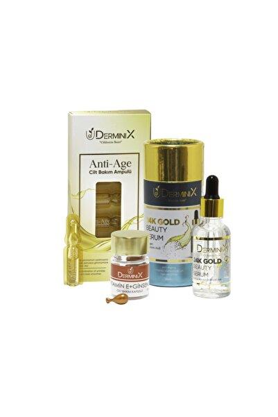 Derminix Anti-age Bakım Seti - 24k Gold Beauty Serum, Anti-Age Ampul, E Vitamini+Ginseng Kapsül
