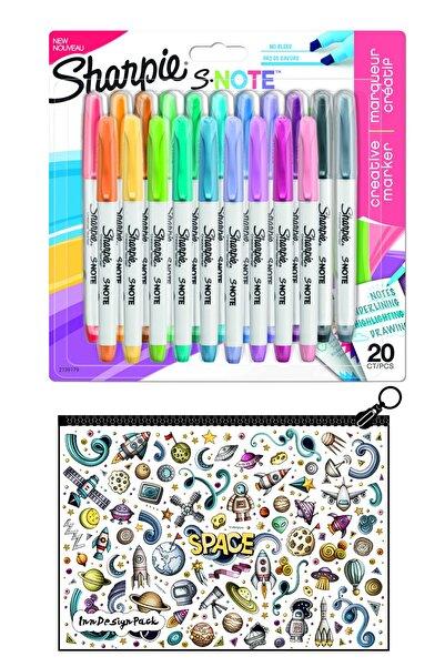 Sharpie Snote Kesik Uçlu Kreatif Markör 20 Li Set + Boyanabilir Kalem Kutu Space