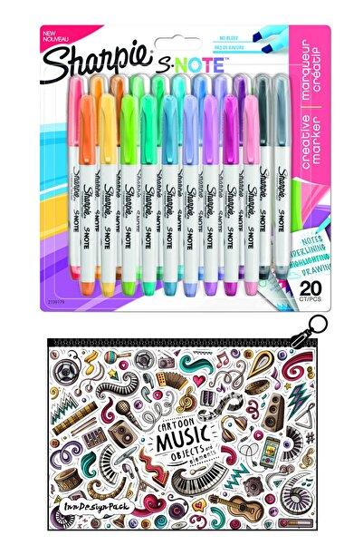 Sharpie Snote Kesik Uçlu Kreatif Markör 20 Li Set + Boyanabilir Kalem Kutu Music