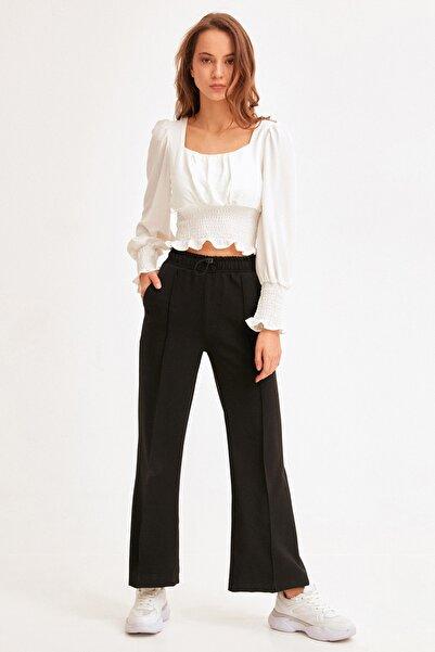 Fulla Moda Kadın Siyah Beli Lastikli Dikişli Bol Paça Pantolon