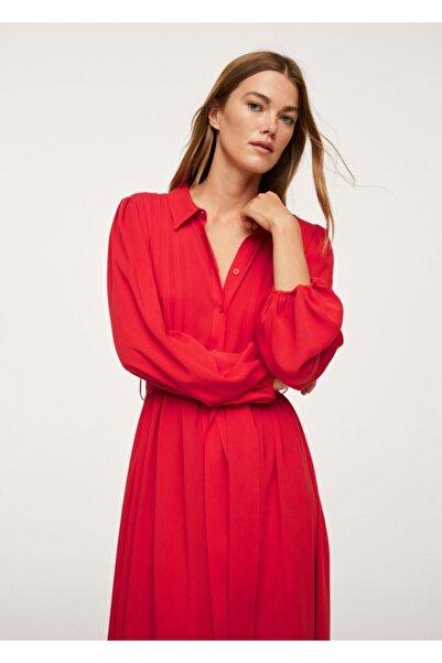 MANGO Woman Kadın Kırmızı Pilili Gömlek Elbise