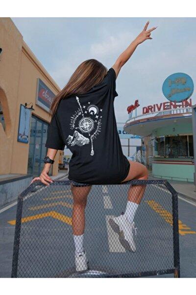 ALİKA Kadın Siyah Pusula Baskılı T-shirt