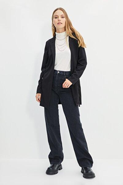Trendyol Modest Siyah Beli Kuşaklı Örme Ceket TCTAW22CK0001