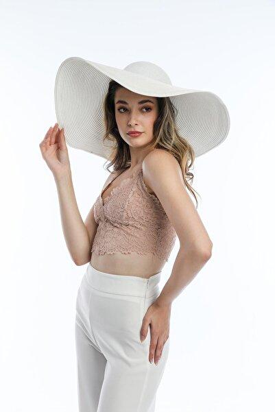 SUVE GOLD Kadın Hasır Plaj Şapkası Beyaz