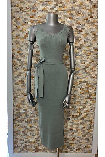 Dilvin Kadın Çağla Askılı Triko Elbise 2616
