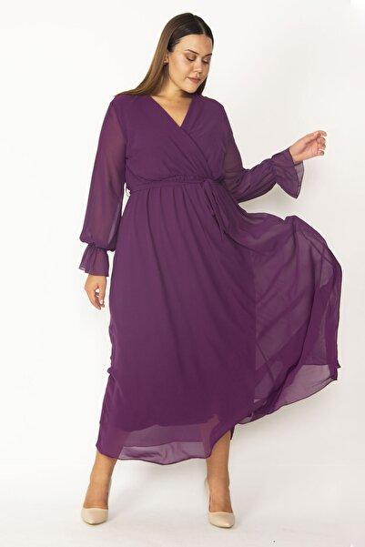 Şans Kadın Mürdüm Şifon Kumaş Astarlı Kol Ağzı Büzgülü Bel Kuşaklı Anvelop Elbise 65N27346
