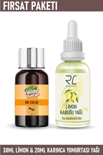 RC COSMETİCS Tüy Azaltıcı Ve Geciktirici Etkili Limon Kabuğu Yağı Serumu 30ml& Karınca Yumurtası Yağı 20ml