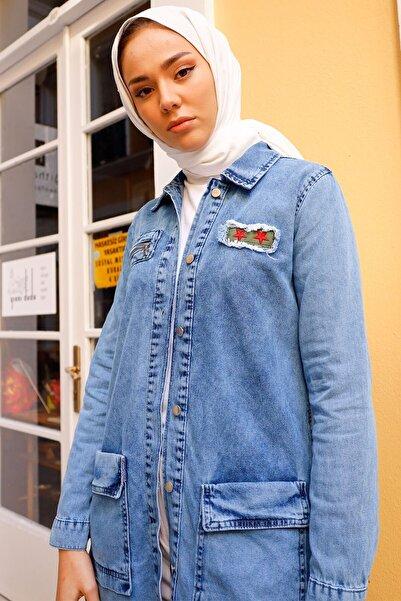InStyle Yıldız Baskılı Kot Ceket - Açık Mavi