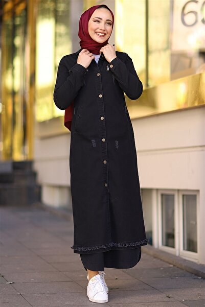 InStyle Püskül Detaylı Uzun Kot Ceket - Siyah
