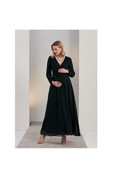 RMG Görsin Uzun Kol Şifon Hamile Elbise