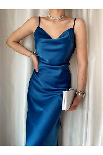 ozzıy34 Kadın Saten Lacivert Askılı Elbise