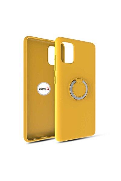 zore Samsung Galaxy A31 Uyumlu  Kılıf Yüzüklü Mat Pürüzssüz Plex Kapak Sarı