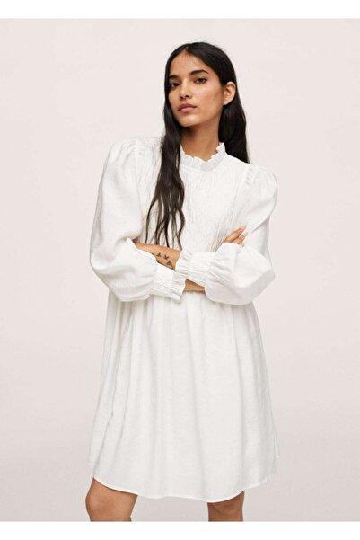 MANGO Woman Kadın Ekrü Dokuma Modal Elbise