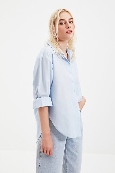 TRENDYOLMİLLA Mavi Loose Fit Gömlek TWOAW20GO0107