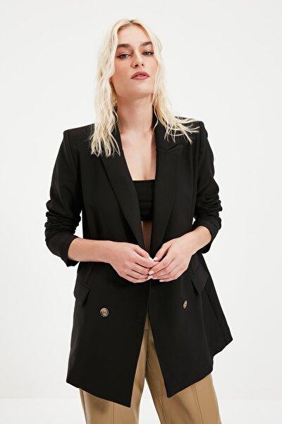 TRENDYOLMİLLA Siyah Düğmeli Oversize Kruvaze Blazer Ceket TWOAW21CE0145